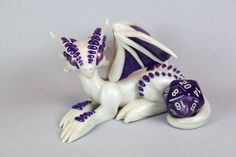 Polymer Clay Dragon White Pearl and Purple. by ShaidySkyDesign.deviantart.com on @deviantART