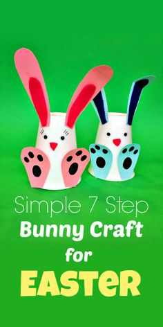 A really simple Easter craft for kids using card and disposable cups. Such cute bunnies! #easter #eastercrafts #easycrafts