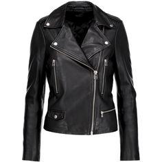 Muubaa - Granger Leather Biker Jacket ($263) ❤ liked on Polyvore featuring outerwear, jackets, black, zip jacket, leather biker jacket, asymmetrical zip leather jacket, genuine leather biker jacket and leather jackets