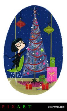 This 'Incredibile' holiday treat comes to us from New York artist Stephanie Buscema. This talented illustrator has worked on several children's books and has a seriously impressive client list incl. Disney Love, Disney Magic, Disney Art, Disney Pixar, Walt Disney, Edna Mode, Twisted Disney, Disney Christmas, Christmas Clipart