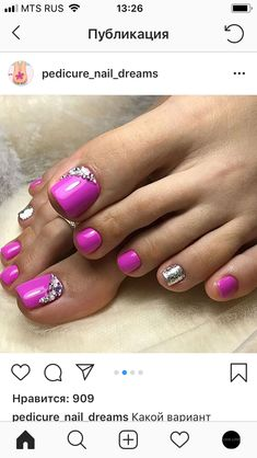 Toenail Art Designs, Pedicure Designs, Pedicure Nail Art, Pedicure Ideas, Pretty Toe Nails, Cute Toe Nails, Toe Nail Color, Toe Nail Art, Nail Colors