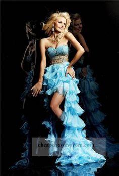 Aqua Gold Beaded High Low Ruffled Prom Dress