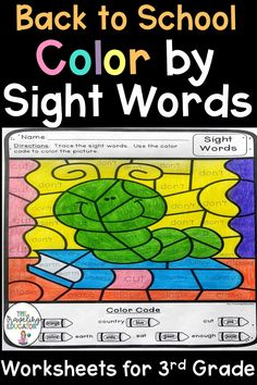 Back to School Color by Sight Word Worksheets for Grade Pre K Activities, First Grade Activities, Sight Word Activities, Writing Activities, Kindergarten Activities, Preschool, Reading Resources, School Resources, Teaching Reading