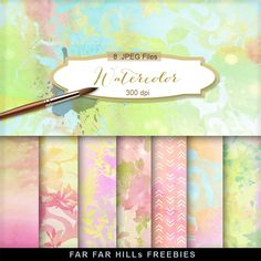 New Freebies Kit of Backgrounds - Watercolor:Far Far Hill - Free database of digital illustrations and papers