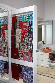 Great idea for hanging scarves! Elegant Contemporary Bedroom by Lisa Adams on HomePortfolio