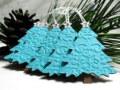 Embossed Blue Christmas TREE Tags 5 by smatsunaka on Etsy, $3.50