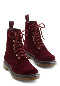 Show Off Your Strut Boot in Burgundy. Let your steps do the talking with these velvet Dr. #red #modcloth