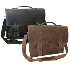 This men's classic leather briefcase will help you stay organized with ease. This briefcase features a two buckle design closure and a main compartment with three sections for ample storage.
