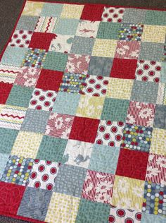 Sweet+and+Modern+Baby+Quilt+in+Hullabaloo+by+ModernMaterialGirl,+$125.00