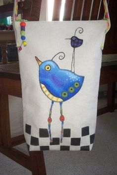 Hand Painted Canvas Bag by moonpieprimitives on Etsy