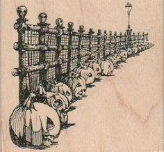 Jack o' Lanterns Along Fence 3 x 2 3/4 - $10.75 @ vlvstamps.com