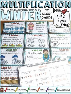 Review multiplication facts and build number sense with these 32 Winter themed multiplication scoot cards on the 1-12 times tables. https://www.teacherspayteachers.com/Product/WINTER-ACTIVITY-WINTER-MULTIPLICATION-SCOOT-3536990