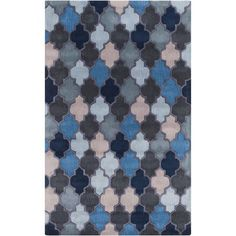 Oasis Cobalt and Navy Rectangular: 2 Ft x 3 Ft Rug