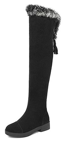 6034969ca16 Summerwhisper Womens Comfy Fur Faux Suede Round Toe Fringe Lace up Low Heel  Side Zipper Over the Knee Tall Riding Boots Black 7 BM US     Check this  awesome ...