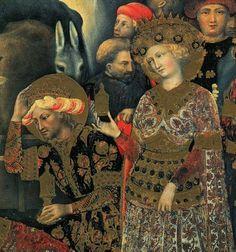 Gentile da Fabriano - Magi, dettaglio Adorazione dei Magi (corteo centrale) - tempera e oro su tavola - 1423 - Galleria degli Uffizi, Firenze