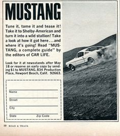 1965 Mustang Book Advertisement Road & Track June 1965   Flickr - Photo Sharing!