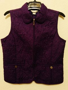 Christopher & Banks - Women's Vest - Size Medium - Purple Quilted Zip Up Top - Sleeveless #ChristopherBanks  ..... Visit all of our online locations ..... (www.stores.eBay.com/variety-on-a-budget) ..... (www.amazon.com/shops/Variety-on-a-Budget) ..... (www.etsy.com/shop/VarietyonaBudget) ..... (www.bonanza.com/booths/VarietyonaBudget ) .....(www.facebook.com/VarietyonaBudgetOnlineShopping)