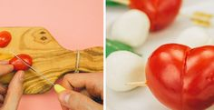 Turn these little tomatoes into charming and delicious hearts!
