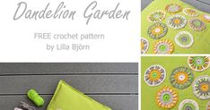 Grow your own mini Dandelion Garden and decorate your old fabric pillowcase with fresh spring ornaments. Free overlay crochet pattern by Lilla Bjorn