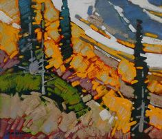 "Cameron Bird COLOUR AMONG THE SCREE - SAWBACK RANGE / Canada House Gallery - oil, board 10"" x 12"""