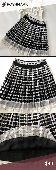 """Alfani Silk Polka Dot Skirt Gorgeous pleated silk twirling skirt with polka dot pattern and dashed hem.  It has a 100% Polyester Black underlay.  There is a hidden side zipper with hook & eye.  It's ivory/ black and looks stunning on. Size 8 Petite.  Approx Measurements 15"""" waist and 24"""" length Alfani Skirts Midi"""