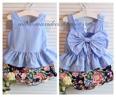 Bow top for summer adorable! Outfits Niños, Kids Outfits, Fashion Outfits, Baby Girl Dresses, Baby Dress, Baby Girls, Fashion Sewing, Fashion Kids, Bow Tops