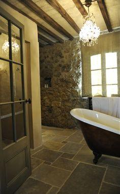 Heated stone floors + deep tub Love the tile. Tuscan Bathroom, Rustic Bathrooms, Modern Bathroom, Bathroom Interior, Stone Bathroom, Design Bathroom, Master Bathroom, Rustic Luxe, Rustic Elegance