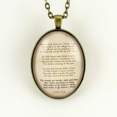 robert frost poems | Robert Frost Poem Necklace Stopping by Woods on a by cellsdividing, $ ...