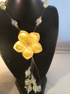 Poured Yellow Glass Pendant Drop Necklace with by hauteandswagger