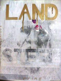 MINENKULU NGOYI 'LAND STEEL III Silk screen and aerosol on Fabriano 42X35cm 1/1 2015