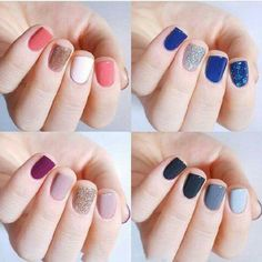 ♥️♥️Angel saru♥️♥️ Manicure 2017, Glitter Manicure, Nails 2017, Diy Nails, Spring 2017 Nails, Nail Summer, Color Nails, Blue Nails, Combination Colors