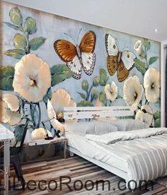 Beautiful Dream Romantic Fresh Blue Hibiscus Baba Butterfly wall art wall decor mural wallpaper wall IDCWP-000091