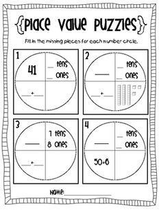 Place Value Puzzles($ but easily reproduced) Good for a math center: laminate so dry-erasable
