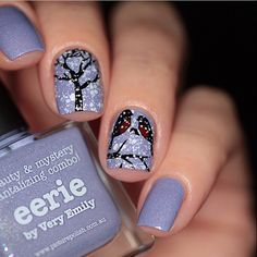 piCture pOlish 'Eerie + Storm' winter robins nails by Anya Sobko WOWZA shop on-line: www.picturepolish.com.au