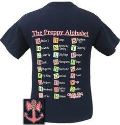 Girlie Girl Original The Preppy Alphabet Anchors Bows Teacher Daycare Comfort Color Bright T Shirt