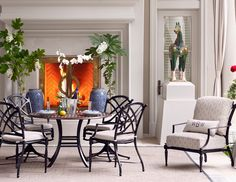 Create a both alluring and comfortable dining area for your patio or sunroom with our Westport collection! The Westport outdoor furniture is executed in cast aluminum and features a double x-back with channeled edges that flow along the arms and back. #summerclassics