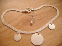 "Silvertone choker necklace well made ribbon effect 12""extends 2.75"""