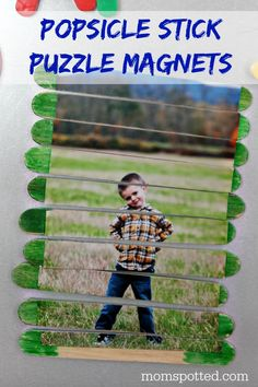 These Popsicle Stick Puzzle Magnets are a great hit and the boys loved having a craft to make on their own! Great for Preschool Magnetic boards!