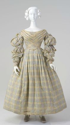 """Satin-striped cotton voile day dress, Australian, c. 1837 (altered in 1932). Worn by Esther Arndell, the wife of explorer Captain William Hilton Hovell, and later by Hope Ryrie to a fancy-dress party, which she attended as """"Miss Hovell""""."""