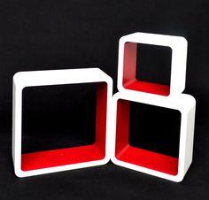3 set lounge cube shelf design retro 70s wall shelf hanging shelf in white red