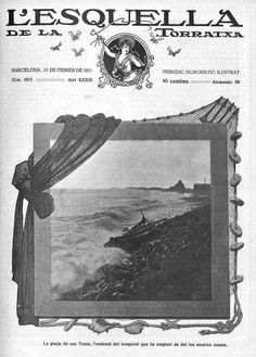 La platja de Can Tunis l'endamà del temporal de mar al mar Mediterràni del dia 31/1/1911 (L'Esquella de la Torratxa.)