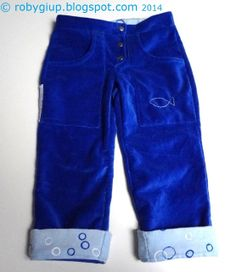 Baby velvet trousers with reversible cuffs and a fish on one pocket #trousers #baby #boy #clothing