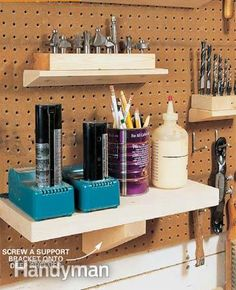 Using L-hooks any shelf can be made pegboard compliant.  Custom holders for drills, etc?  Use 2x4s and 1/4-in. L-hooks to make the shelves. Chamfer the top back edge so the shelf can be tipped in and tighten the L-hooks for a snug fit against the Peg-Board. Predrill the edges of the 2x4s with a 3/16-in. drill bit and about every 6 in., screw in threaded 2-in. L-hooks to match the holes in your Peg-Board. These shelves are surprisingly strong and can be sized to fit your specific needs.