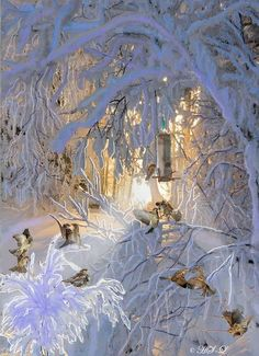 Spatzen im Winterwald