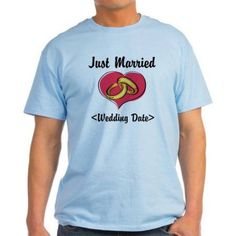 Cafepress Personalized Just Married (Add Your Wedding Date) Light T-Shirt, Size: 2XLarge (+$3.00), Blue