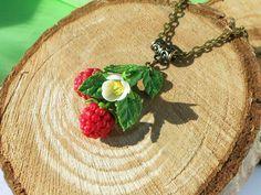 Necklace Raspberry handmade polymer clay / Jewelry red berry  Realistic sprig…