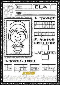 Thanksgiving Word Work Freebie for Little Kids by Ready to Teach English and Spanish Thanksgiving Words, Thanksgiving Projects, Thanksgiving Activities, Kindergarten Thanksgiving, Holiday Activities, School Ot, Too Cool For School, School Days, School Stuff