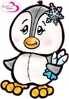 Playful Penguin 2 from Big Heart Decals Inc. Made in Canada. Fabric stickers or wall decals for nursery or kids playrooms. Sticks on walls, windows and flat surfaces.  Movable, removable, no residue.  Price: $18.00 - 8.5 x 12 inches