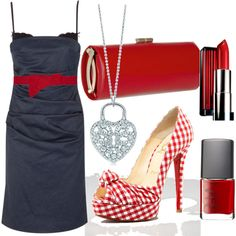 Denim & Red, created by renamichelle on Polyvore... I like everything except the shoes.