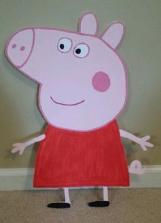 (1) Peppa Pig and friends painted cutouts.  Birthday party / room decoration